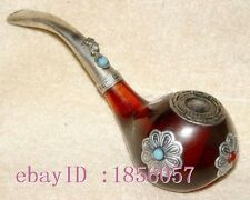 Chinese Handwork tibetan-silver copper old style pipe