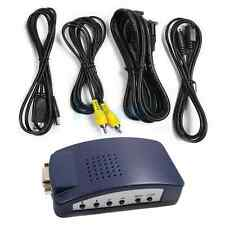 New PC VGA to AV TV RCA S-Video Converter Box Adapter Dark Blue