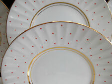 TRENTHAM-ROYAL CROWN POTTERY- #1245- 1950's-BREAD PLATE(S)-WHITE-RED DOTS-GILT!!
