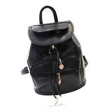 Fashion Women Casual Pure Pattern PU Leather Sholder Travel Backpack Bag Black