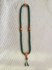 Handmade Turquoise Mala Necklace (8007), 108 Beads, 9mm oblate bead