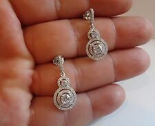 925 STERLING SILVER MICRO PAVE GRADUATED CIRCLE DANGLE EARRINGS W/ ACCENTS