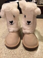 NWT Baby Gap Girl Toddler Cozy Bear Booties Boots Shoes Ivory Cream Size 7