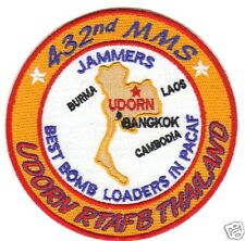USAF BASE PATCH, 432ND MMS, JAMMERS, UDORN RTAFB, BEST BOMB LOADERS IN PACAF   Y
