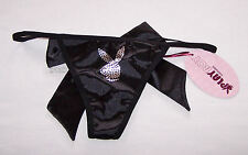 Playboy Ladies Bunny Treats Black Satin Bow G String Brief Size 12 New