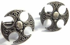 Axe Skull German Iron Cross Harley Biker Military Army Suit Cufflinks Cuff Links