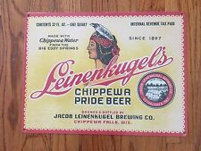 Leinenkugel's Chippewa Pride Indian Beer Bottle Label Brewery Metal Sign WI USA