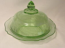 Green Patrician Depression Glass Butter Dish With Lid Federal