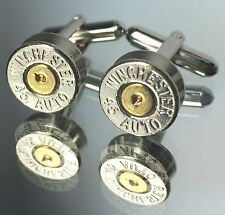 45 AUTO WINCHESTER Bullet Cufflinks Nickel Silver Wedding Camo Steampunk