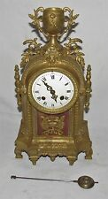 Nice 8 Day French Brass Mantle Clock By A.G Mougin