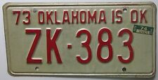 Oklahoma 1974 TULSA COUNTY License Plate NICE QUALITY # ZK-383