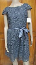 Suzi Chin for Maggy Boutique Pewter Silver Sparkle Cocktail Dress Size 4 NWT