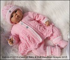 "BABYDOLL HANDKNIT DESIGNS KNITTING PATTERN F112 LACY SET 16-22"" DOLL 0-3M BABY"