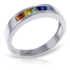 0.6 ct Platinum Plated 925 Sterling Silver Rings Natural Multicolor Sapphire