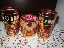 4 Vintage  Gold & Red Embossed Drinking Glasses I love you mom / Yo Amo A Mama
