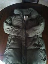 Ruehl 925 by Abercrombie Fitch Long Puffer Coat Jacket Olive Green - Large