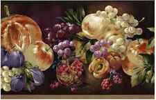 PURPLE RED FRUIT Wallpaper Border Plum Apple Pear Pomegrante Grapes York VA0360B