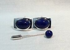 Rectangular Cufflinks with LAPIS LAZULI stone and Cravat/Tie Pin, Silver finish.