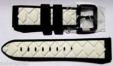 Locman 24mm WHITE/BLACK RUBBER QUICK-RELEASE WATCH BAND w/STEEL BUCKLE NEW