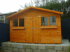 12FT X 8FT GARDEN SHED/SUMMER HOUSE WITH +1FT OVERHANG HIGH QUALITY TIMBER