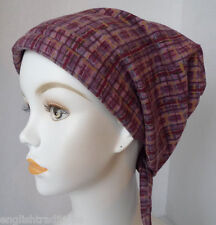 Plaid Flannel Chemo Cancer Hat Alopecia Hairloss 100% Cotton Scarf Head Cover