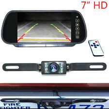 """7"""" LCD Car Rear View Backup Mirror Monitor+Wire Reverse IR Camera System Kit"""