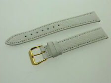 # L655 # FORTIS SWISS MADE UHRENARMBAND LEDER BRACELET LEATHER 16/14 MM WEIß