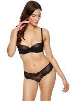 Ann Summers Womens Suki Underwire Bra Black/Shell Satin Sexy Lingerie Underwear