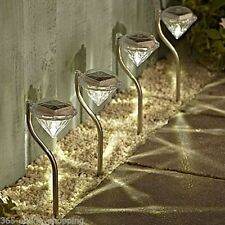 4 DIAMOND STAINLESS STEEL SOLAR GARDEN LIGHTS OUTDOOR RECHARGEABLE LIGHTS