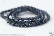 Czech Glass Picasso Blue Speckled Faceted Round Beads 4mm (110)