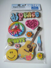 Scrapbooking Crafts Paper House 3D Stickers Peace Sign Groovy Guitar Happy Face