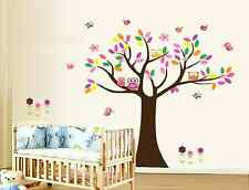 Large Colourful Tree Owls Butterfly Birds Nursery Room Wall Stickers