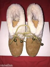Coach Cailyn Moccasins Suede Shearling Fur Boots Lace Up Monogram Camel Size 5