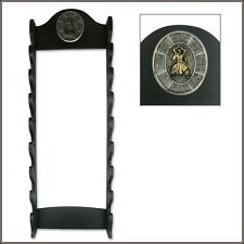 WALL MOUNT EIGHT SWORD DISPLAY STAND BLACK SOLID WOOD MADE BRAND NEW!!!