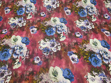 4 Metres Pink & Lilac Roses Floral  Printed Peachskin Dress Fabric. (End of Roll
