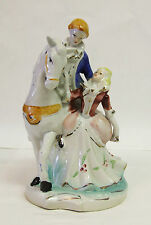 Large China Ornament of a Man on a Horse With Female Lover ~ Collectable Figure