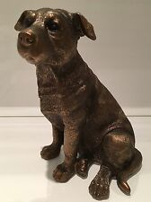 Sitting Reflections Bronzed Staffordshire Bull Terrier Ornament Figurine Gift