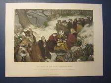 Original Old 1870's Antique Print - PERIL OF THE QUEEN HENRIETTA MARIA - London