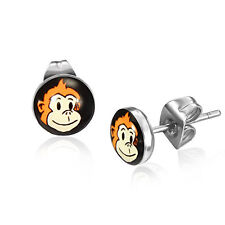 Men's Cheeky Monkey Stainless Steel Round Stud Earrings 7mm by Urban Male