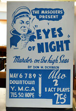 1940's 50's Window Card Los Angeles Masquers EYES OF NIGHT Great Gangster Image