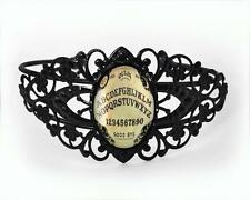 Ouija Board Black Glass Occult Gothic Horror Halloween Filigree Cuff Bracelet