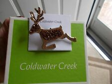Coldwater Creek Reindeer Pin/Brooch/Pendant Gold Tone w/Brown & Clear stone NIB