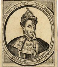 Portrait de Henry III 3 Roi de France Gravure originale 18e siècle