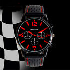 Hot Classic Men's Silicone Strap Black+Red Dial Quartz Sports Wrist Watch Gift