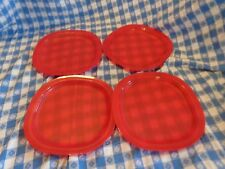 Tupperware NEW Lot 4  RED Microwave LUNCH Plates  Popsicle REheatable LUNCHEON