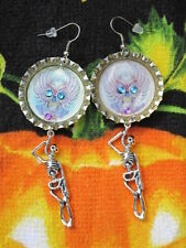 Day Of The Dead Sugar Skull With Skeleton Dangle Earrings