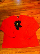 men's XL Orange Puffy Top Heavy brand long sleeve crew neck Distressed shirt