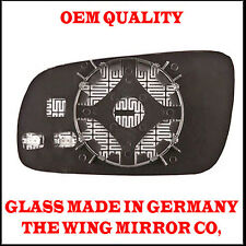 Audi A4 1997- 2000 DRIVER SIDE Door/Wing Mirror Glass Blue Aspheric Heated& Base