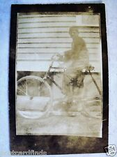 RPPC BOY ON OLD c 1910's BICYCLE BIKE REAL BROWNIE VELOX PHOTO UNPOSTED POSTCARD