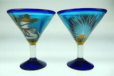 Martini Glasses Mexican, hand blown, hand painted pancho design with cactus (2)